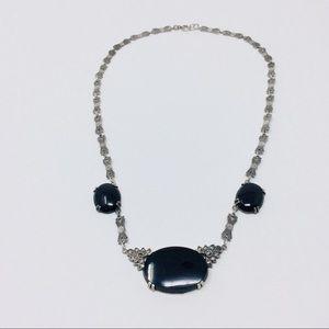 Jewelry - Vintage Sterling Silver Black Onyx Dainty Necklace